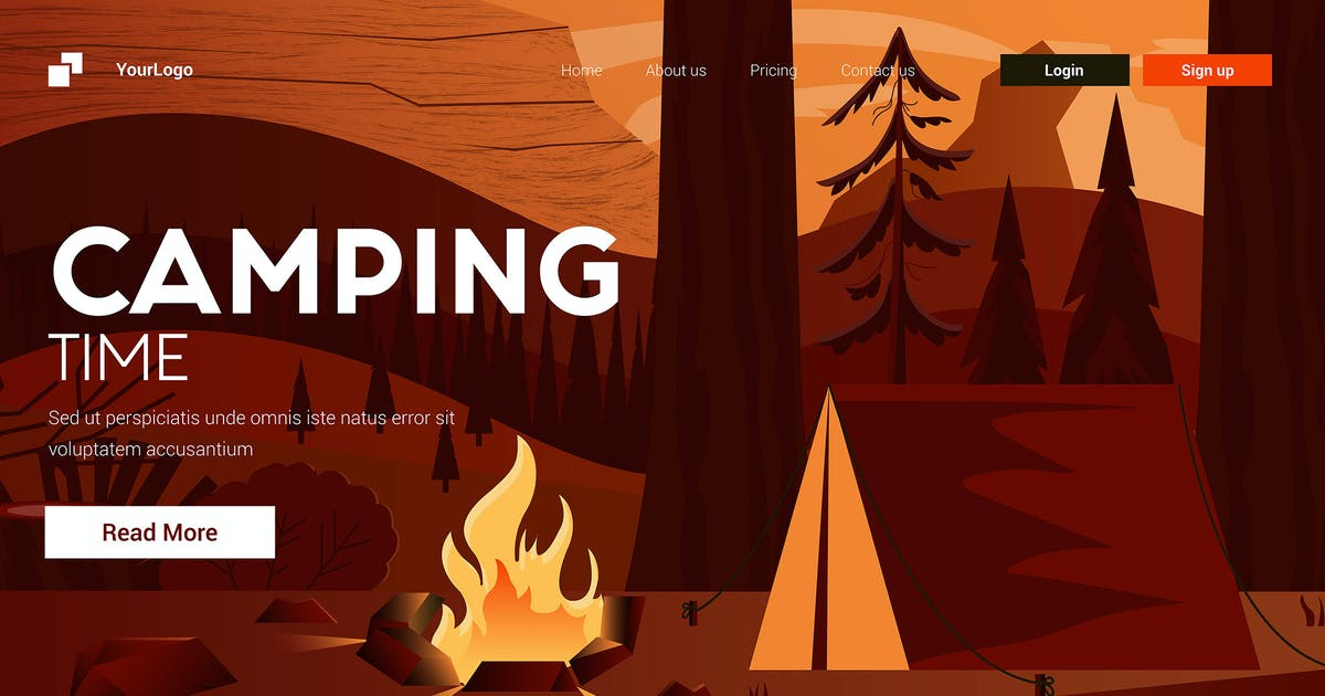 Download Flat Modern design Illustration of Camping by graphics4u