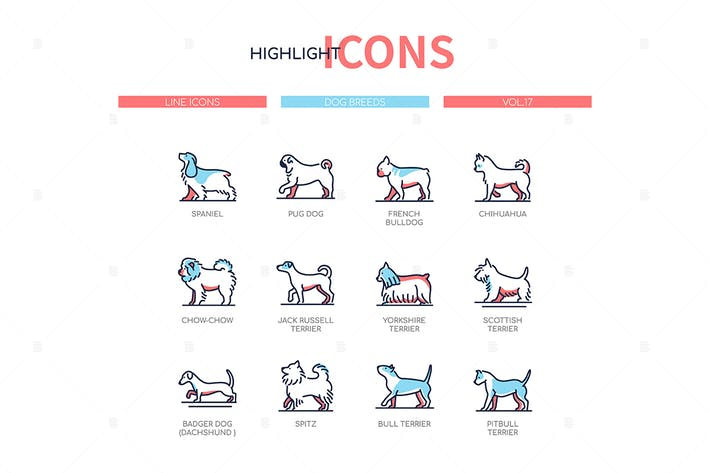 Thumbnail for Dog breeds - modern line design style icons set