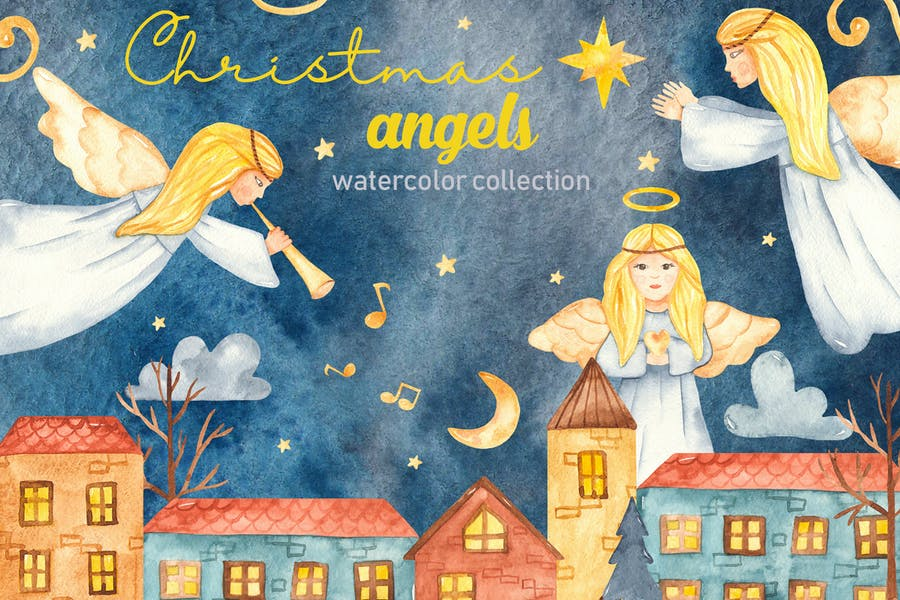 Watercolor Christmas Angels. Clipart, cards