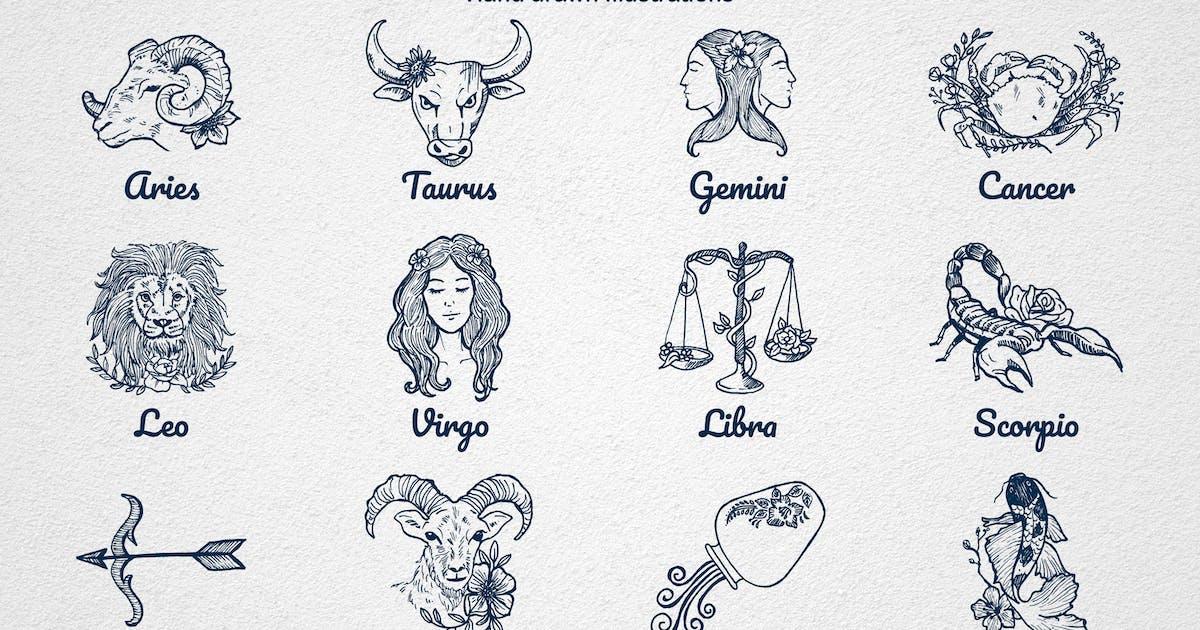Download Hand drawn Astrological Zodiac Emblem by abiafandi