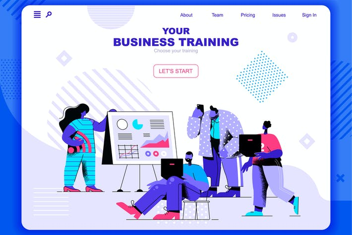 Business Training Flat Concept Landing Page Header