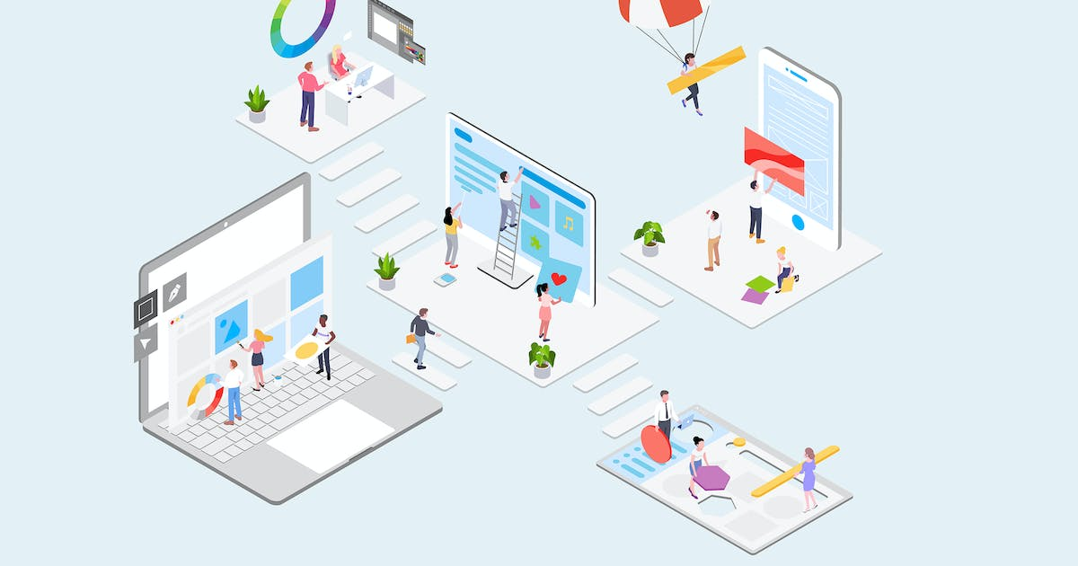 Download Creative Workspace Concept Isometric Illustration by angelbi88