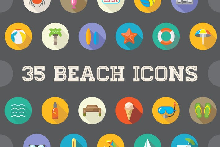 Thumbnail for 35 Beach Flat Vector Icons Set