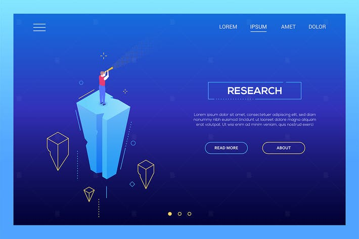 Thumbnail for Research - modern isometric web banner