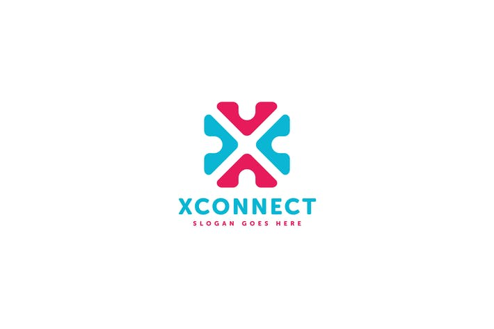 Cover Image For X Connect Letter Logo Template