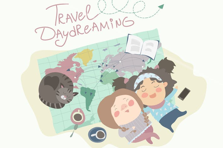 Thumbnail for Two cute girls have daydreaming about traveling