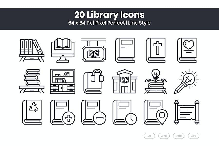 Conjunto de 20 Íconos de biblioteca - Línea