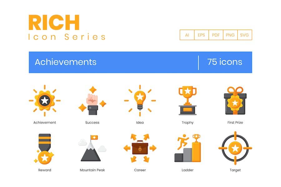 75 Achievements Icons - Rich Series