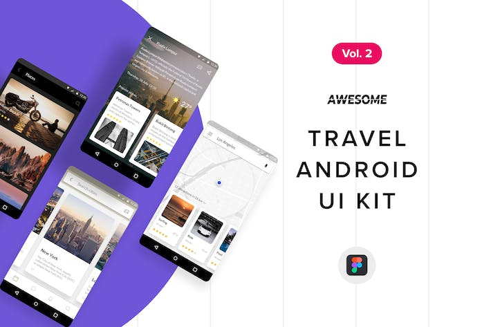 Thumbnail for Android UI Kit - Travel Vol. 2 (Figma)