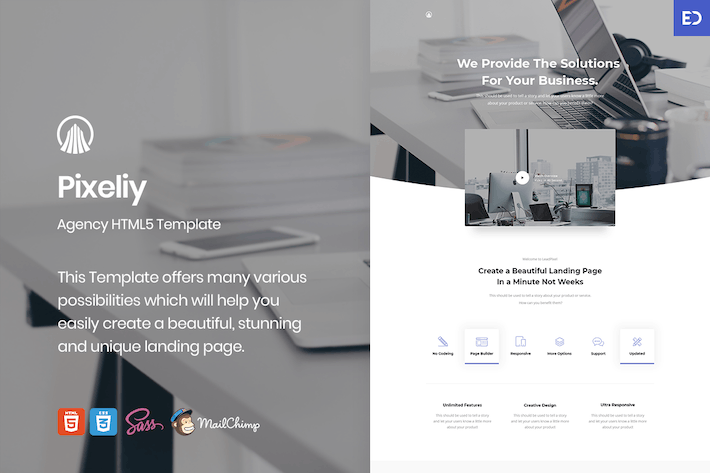 Thumbnail for Pixeliy - Business HTML Landing Page Template