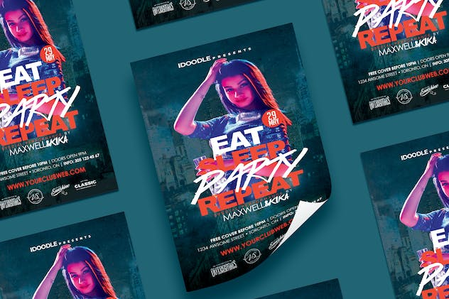 Eat • Sleep • Party • Repeat Flyer