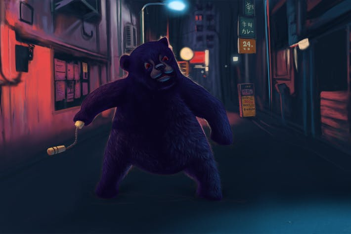 Thumbnail for Yakuza Black Bear Hand Drawn Digital Painting