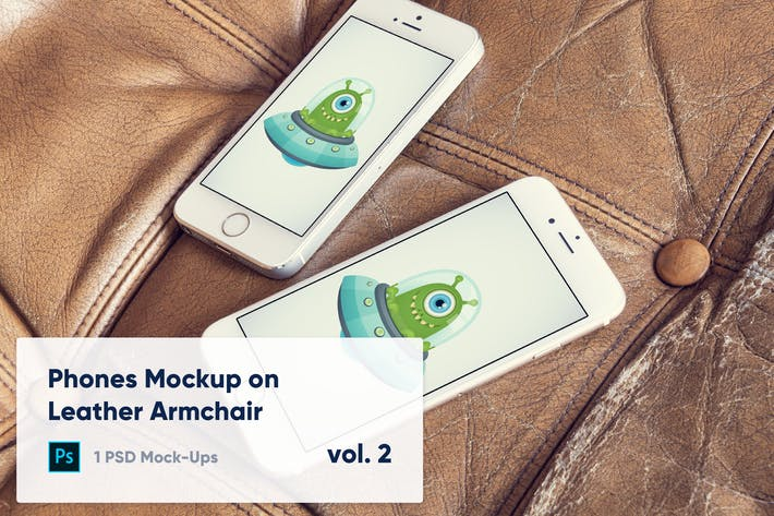 Thumbnail for 1 Phones Mockup on Leather Armchair Vol. 2