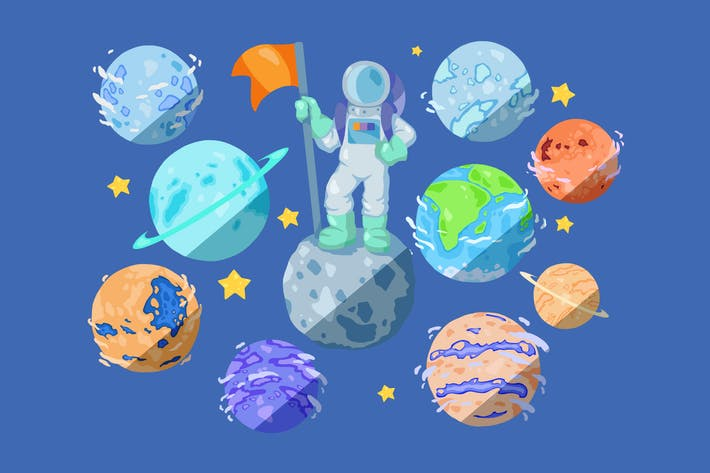 Thumbnail for Cartoon Planets Clipart