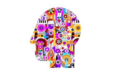 Абстрактное искусство Изображение головы человека