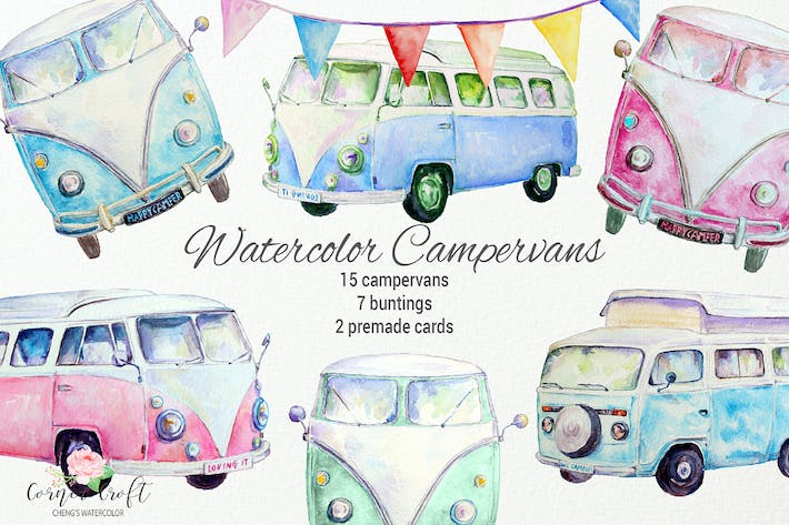 Watercolor Campervans Leisure Vehicles