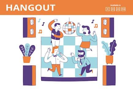 Party Disco mit Freunden Doodle Illustration