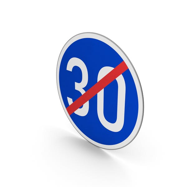 Ограничение скорости конца дорожного знака 30