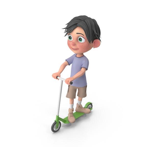 Мультфильм мальчик Джек езда скутер