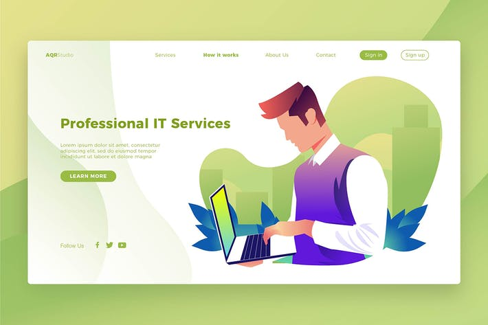 Thumbnail for Professional IT - Banner & Landing Page