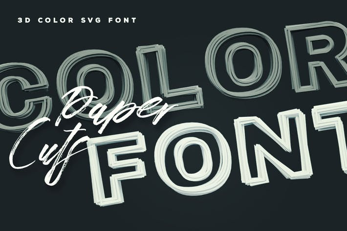 Cover Image For Paper Cuts Color Font