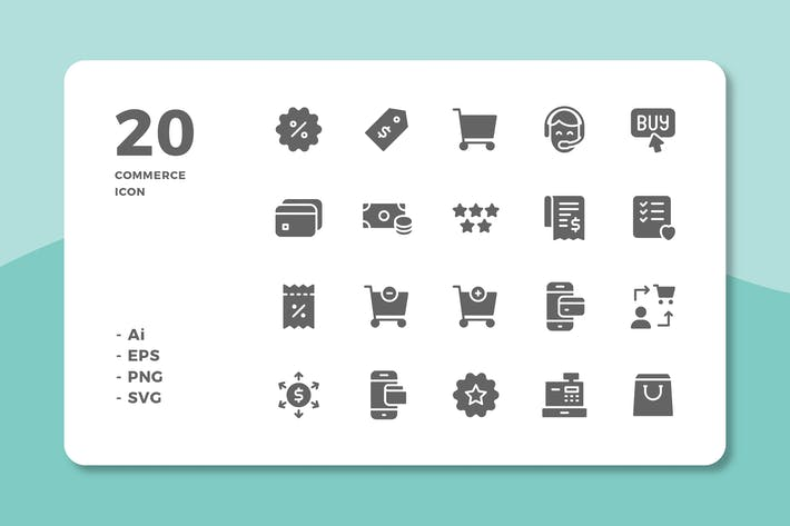 Thumbnail for 20 Commerce Icons (Solid)