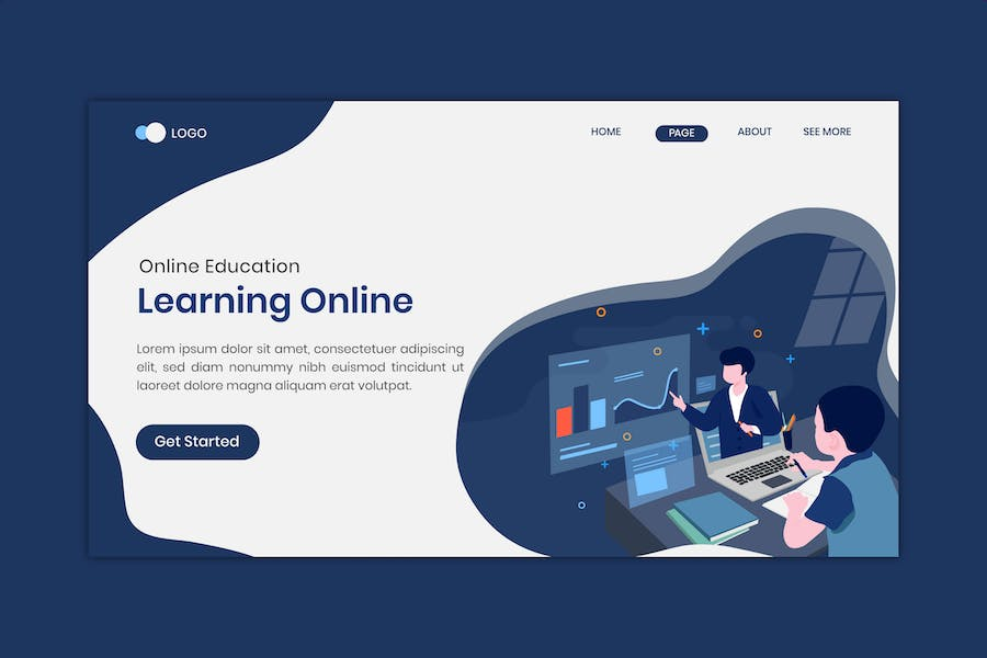 Distance Learning Online Education Landing Page