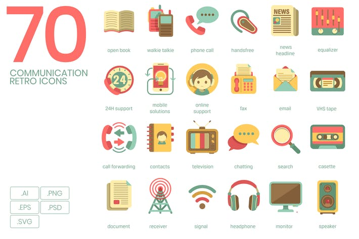 Thumbnail for Communication Retro Flat Icons