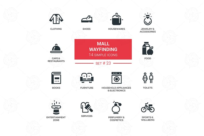 Thumbnail for Mall wayfinding - modern simple icons, pictograms