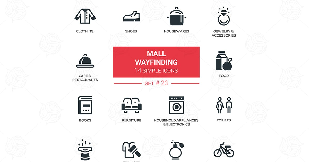 Download Mall wayfinding - modern simple icons, pictograms by Unknow