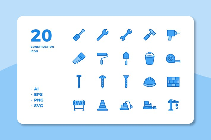 20 Construction Icons (Lineal Color)