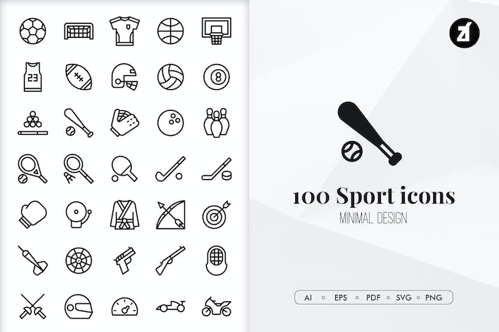 Thumbnail for 100 Sport elements in minimal design