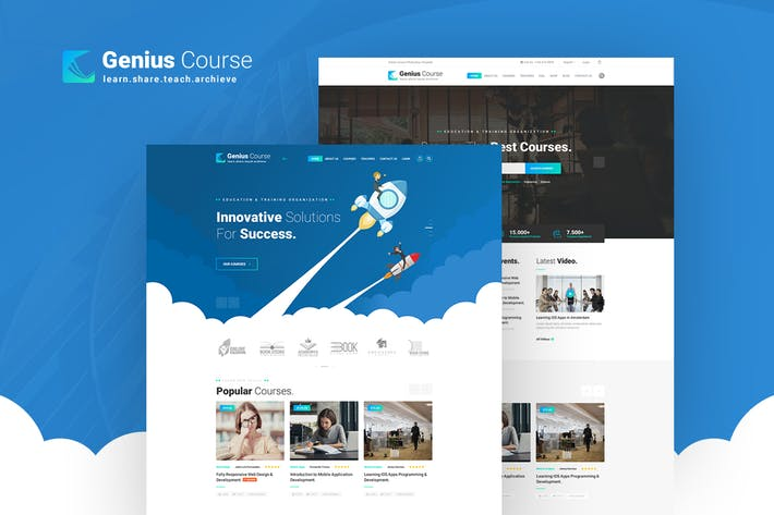 Thumbnail for Genius - Learning & Course PSD Template