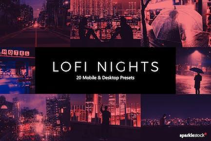 20 LoFi Nights Lightroom Presets & LUTs