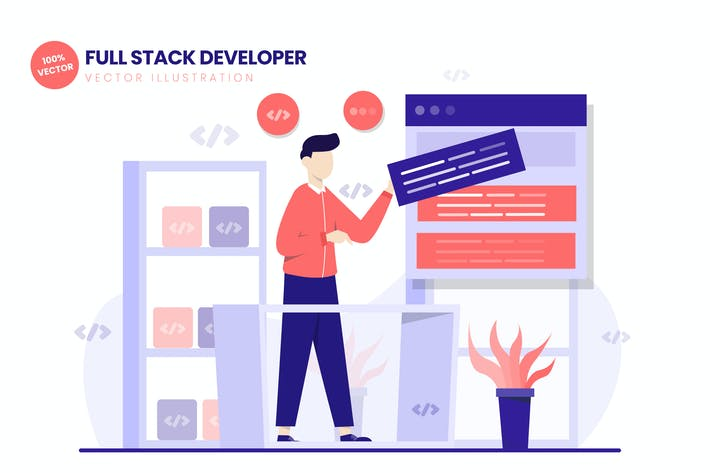 Thumbnail for Full Stack Developer Flat Vector Illustration