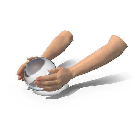 Hands Kristallkugel Tageslicht