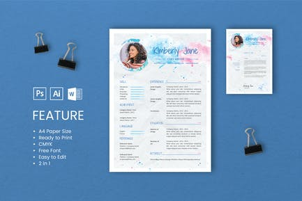 Professional CV And Resume Template Kimberly