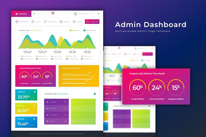 Thumbnail for Startup Dashboard | Admin Template