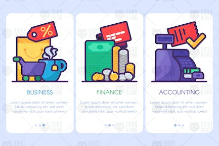 Business, Finance, Accounting Web Banner Set