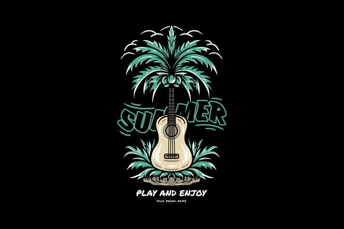 guitar and summer day illustration