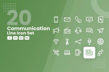 20 Kommunikationslinien-Icon-Set