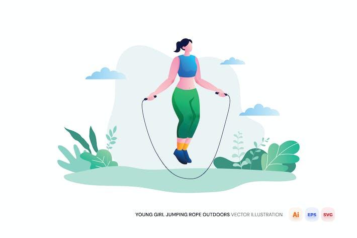 Jeune fille à sauter corde à l'extérieur