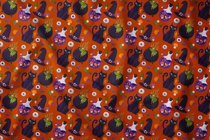 Halloween Witch Accessories Seamless Pattern