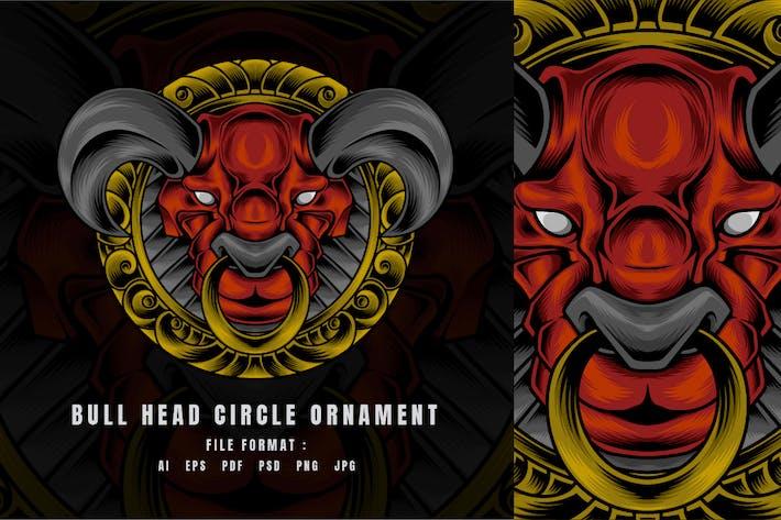 Bull Head Circle Ornament