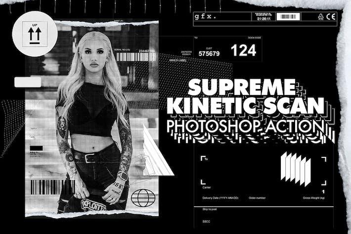 Высшее кинетическое сканирование Photoshop Action