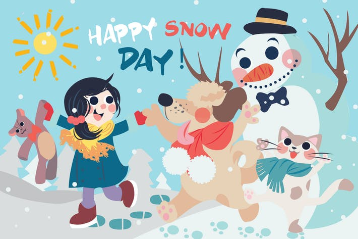 Snow Day - Vector Illustration