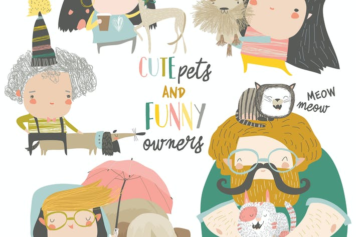 Thumbnail for Cute pets with their owners. Vector collection