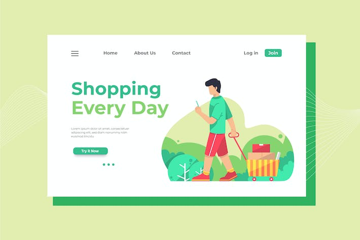 Cover Image For Shopping Every Day Landing Page Illustration