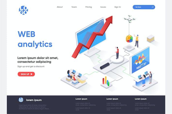 Web-Analytics-Vorlage für isometrische Zielseiten
