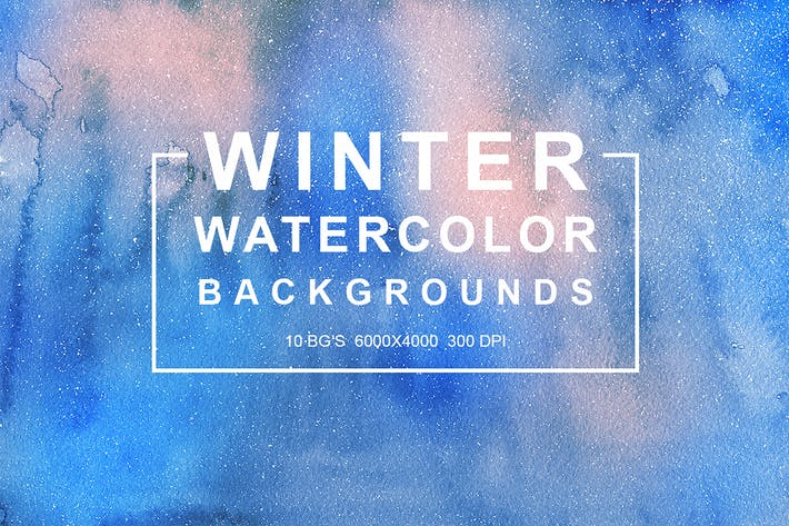 Cover Image For Winter Watercolor Backgrounds vol.1